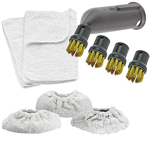 SPARES2GO Spray Jet Attachment Draadborstel mondstukken doeken + hoezen voor Karcher Stoomreiniger