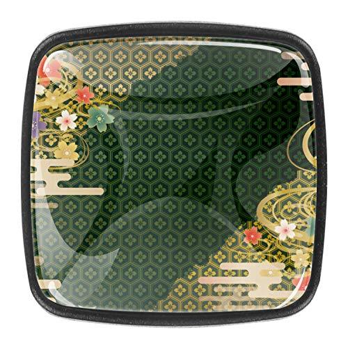 Juego de 4 tiradores de cajón y pomos para cajones con tornillos de cristal para cajón de cocina, puerta y armario de cocina, diseño japonés