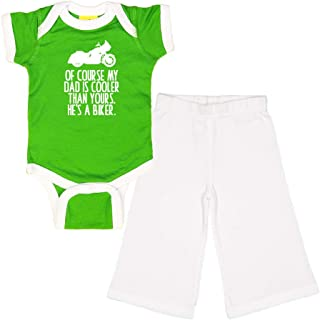 Mashed Clothing - of Course My Dad is Cooler Than Yours. He's A Biker. (Motorcycle) - Baby Ringer Bodysuit & Pant Gift Set