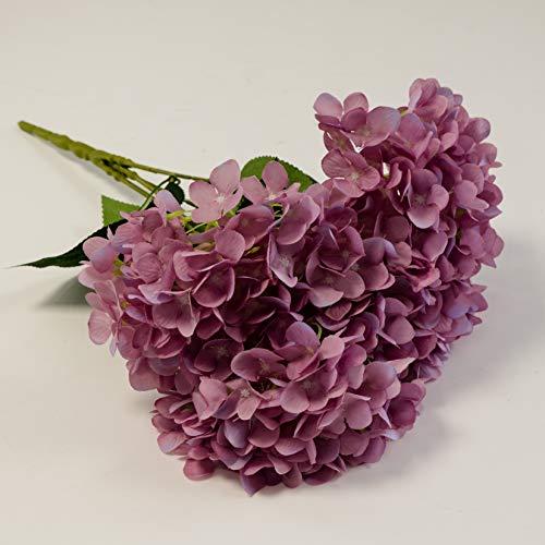 Bouquet d'hortensia en soie 5 têtes 4 couleurs pour décoration de mariage, centre de table, événements (rose foncé)