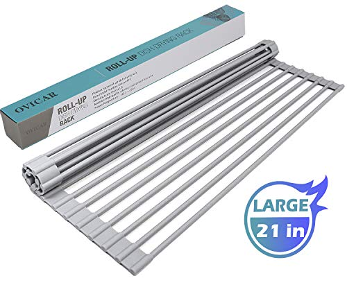 Roll-Up Dish Drying Rack, Rolling Dish Drainer Over Sink Mat for Kitchen, Foldable Multi-Use Heat Resistant Silicone Coated Stainless Steel Dish Sink Drying Rack (21 inch)