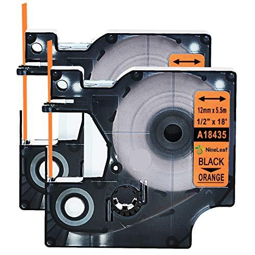 """NineLeaf 2 Pack Permanent Industrial Black on Orange Vinyl Label Tape Compatible for DYMO 18435 12mm(1/2"""") x5.5m(18ft) use in Rhino 1000 3000 5200 4200 5000 6000 3M PL100 PL200 PL300 Label Maker"""
