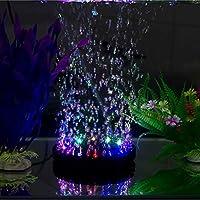水族館の装飾のための酸素ポンプの水槽のLEDカラフルな防水ライトバブル曝気ガーデン酸素ポンプ装置 (Color : Black)