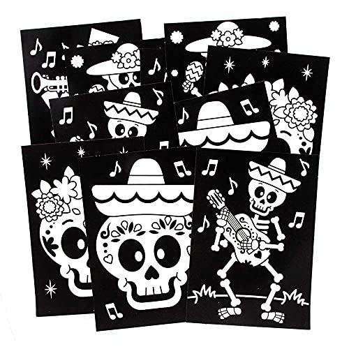 Baker Ross FE729 Decoraciones de Imágenes del Día de los Muertos para Colorear - Paquete de 10, Imágenes de Fieltro para Manualidades, Haz tu Propia Decoración de Imágenes, Juego de Manualidades