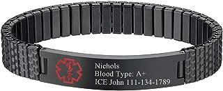Free Engraving Alert ID Bracelet Stainless Steel Rubber Silicone Emergency Type 1/2 Diabetic Medical Bracelets, Personalized Jewelry for Men Women