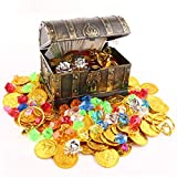 Product Image of the Lingway Toys Kids Pirate Treasure Chest Smaller Size Treasures Box with 100pcs...