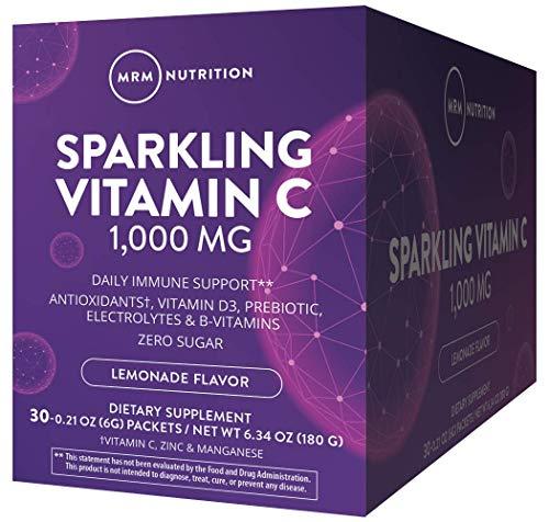 MRM Sparkling Vitamin C 1000 | Balanced with Vitamin D, Prebiotics & Zinc, Lemonade, 6.34 Ounce