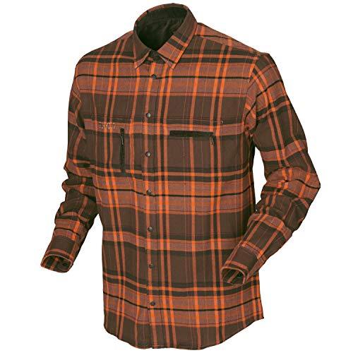 Harkila geruit jachthemd EIDE van katoen voor heren - lange mouwen flanel hemd Outdoor - trekking en wandelhemd voor mannen (oranje, 3XL)