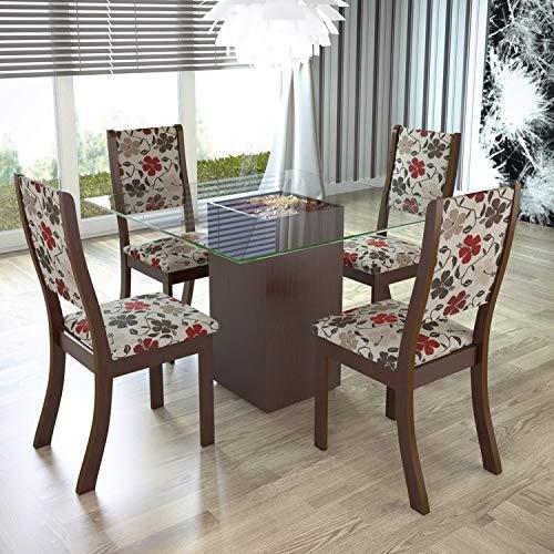 Conjunto para Sala de Jantar Mesa e 4 Cadeiras Espresso Móveis Choco/passion