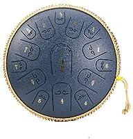 タングドラム スリットドラム 15トーン14インチスチールタンドラムカラーホロードラムサンスクリットドラム 金属ドラム ヨガの瞑想 音楽療法 癒しの楽器 キャリーバッグやスティック (海軍) (海軍)