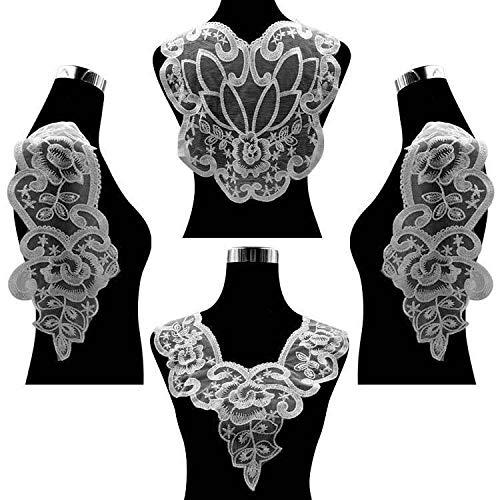 Gxbld-yy 4PCS / Set Luxus-Weiß gesticktes Ineinander greifen Guipure-Spitze-Gewebe Hochzeitskleid Applique DIY Kleid Nähen Scrapbooking Dekor (Farbe : Weiß)
