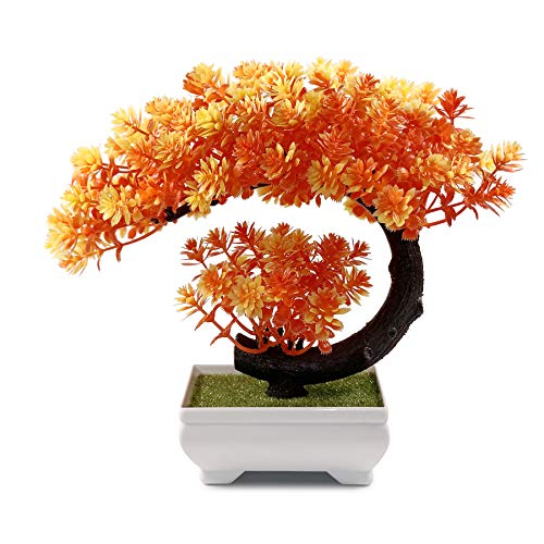 Small Artificial Plants Fake Bonsai Tree, Indoor House Plant for Home Office Decor, 9.5 x 8.5 inch