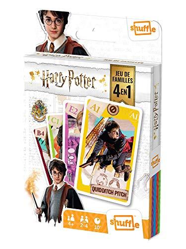 Shuffle Harry Potter, Warner Bros Cartes 4 Jeux en 1 : 7 Familles, Paires, Action et Batailles-avec Ron, Hermione, Dumbledore, 108574998