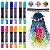 Lictin Colori Capelli Temporaneo - Gesso per Capelli con Scintillio Metallico,12 Colori + 3 Glitter per Carnevale,Festa di Compleanno