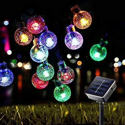 29.5Ft 50 LED Bulbs Diameter 1.7cm Solar String Lights Waterproof Globe Bulbs 8 Modes Decorative Lighting Fairy Lights for Christmas Decoration, Garden, Porch, Patio, Gazebo, Bistro, Xmas Lights