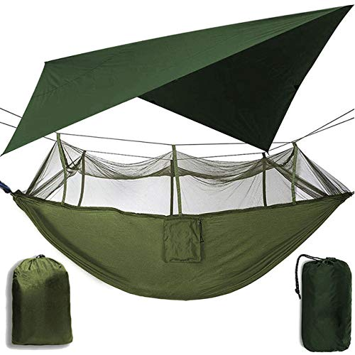 FENGSZ Outdoor Camping Hammock With Mosquito Net And Sun Shelter, Portable Swing Hammocks 260Cm*140Cm,Load Capacity Up To 200Kg,Army Green