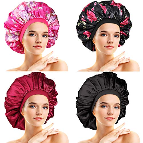 4 Pieces Large Satin Sleeping Cap Satin Bonnet Elastic Silky Night Hat for Women Girl Curly Long Hair Floral Pattern