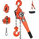 Happybuy Lever Block Chain Hoist 1-1/2 Ton, Chain Come Along 20', Ratchet Chain Hoist 5/16' Diameter, Come Along Puller 3300LBS for Warehouse Garages Construction Zones