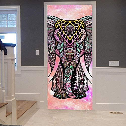 Papel Pintado Puerta Efecto 3D Extraíble Murales Para Puertas Autoadhesivo Impermeable PVC de Cocina Sala Baño oficina Decoración Puerta Papel Tapiz 77 x 200cm Elefante estrellado rojo