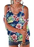 LEIYEE Womens Summer Hawaiian Blue Floral Cold Shoulder Tops Short Sleeve T Shirts Casual Dolman Blouses L
