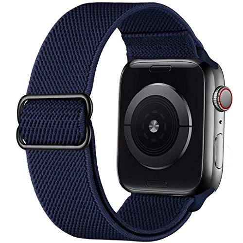 GBPOOT Correa de Compatible con Apple Watch 38mm 40mm 42mm 44mm,Correa Loop Deportiva con Nylon de Repuesto Compatible Iwatch Serie 6/SE/5/4/3/2/1,Azul Medianoche,38/40mm