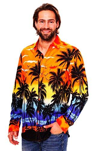 V.H.O. Funky Hawaiian Shirt, LS-Beach, Orange, S