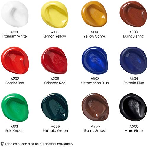 Arteza Acrylic Paint, Set of 12 Colors/Tubes (0.74 oz, 22 ml) with Storage Box, Rich Pigments, Non Fading, Non Toxic Paints for Artist & Hobby Painters, Art Supplies for Canvas Painting Photo #5