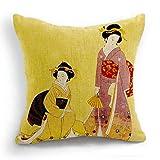 Ericcay Telisha Estilo Retro Amarillo Dos Mujeres Japonesas Geisha Decoración único...