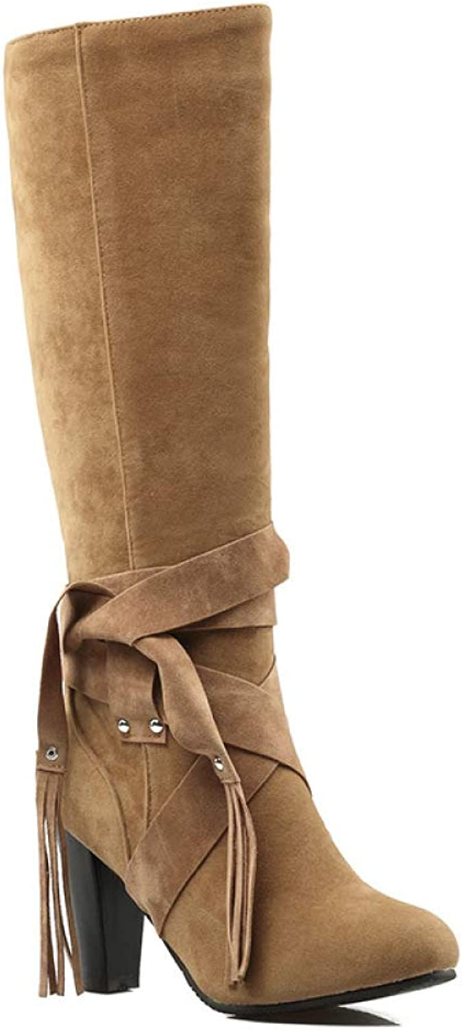 Women Suede Knee Boots 2018 Winter New Retro High-Heeled Tassel Boots Large Size 40-43