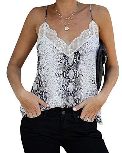 YOINS Haut Femme Sexy Chic Debardeurs Femme Serpent Été Tops sans Manches Blouse Tee-Shirt Imprimé Florale Haut Col Rond Serpent Print Gris L