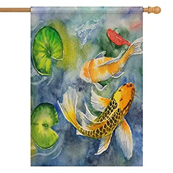 InterestPrint Watercolor Carp Koi Fish Lilies Long Polyester Garden Flag House Banner 28 x 40 inch Polyester Decorative Large Garden Flags Party Yard Home Decor