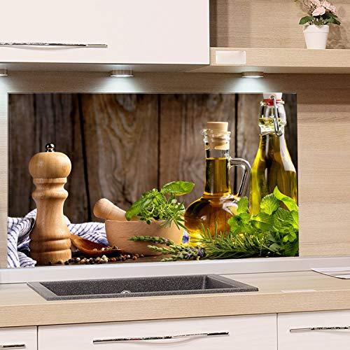 GRAZDesign Spritzschutz Glas für Küche Herd, Bild-Motiv grün Kräuter Provinz mediterran, Küchenrückwand Glas Küchenspiegel Glasrückwand / 80x50cm