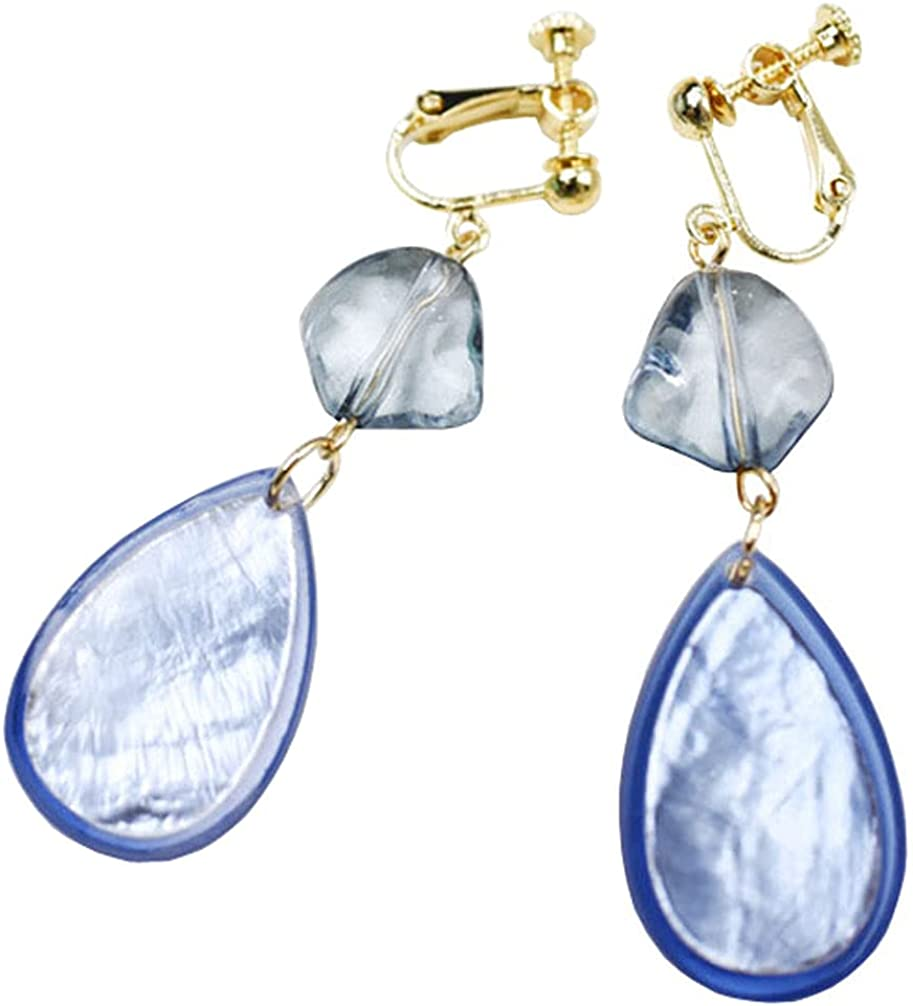 Clip On Drop Earrings Geometric Teardrop Non Piercing Hoop Blue Stone Dangle Jewelry for Girls Women Princess Wife Girlfriend Gifts at Birthday Party Prom
