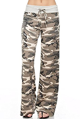 NEWCOSPLAY Women's Comfy Pajama Pants Floral Print Drawstring Palazzo Lounge Wide Leg Pants (XXL, Camouflage)