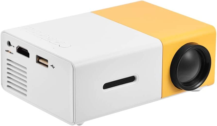 Mini Projector Full HD 1080P LED Projector Home Cinema Theater Indoor/Outdoor Movie Projectors Pocket Projector for Party & Camping Compatible with Laptop/PC/Smartphone/HDMI/VGA/USB/AV(White + Yellow)