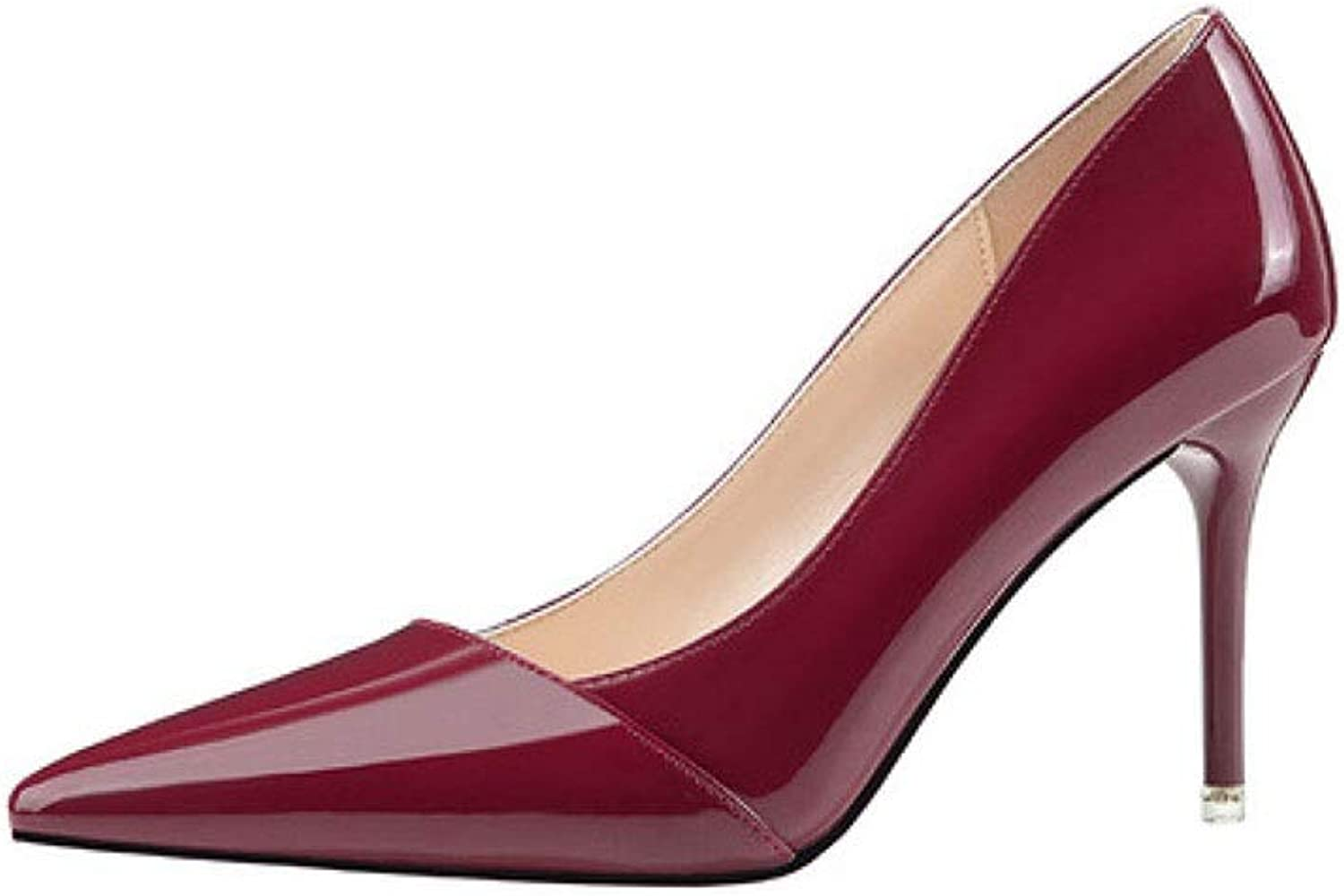 KTYXDE High-Heeled Women's Rubber Fashion Personality Sexy Stiletto Work shoes Spring and Summer 9CM 5 colors Women's shoes (color   D-1, Size   EU39 UK6 CN39)