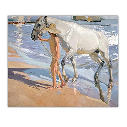 ZNNHEROJoaquin Sorolla《Il Bagno del Cavallo》Dipinto Ad Olio su Tela Opera d'Arte Stampa Poster...