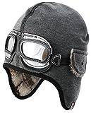 bexa Piloten Jungen-Mütze grau Gr.50 gefüttert mit Fell, Kindermütze, Wintermütze