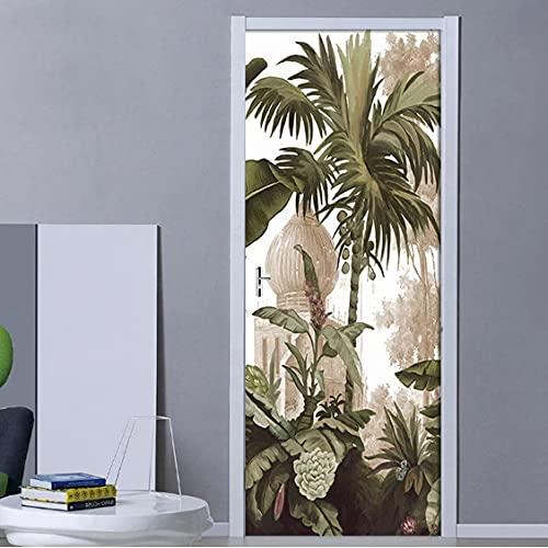 Pegatinas de puerta 3D de hojas tropicales europeas Vintage PVC autoadhesivo para puerta de sala de estar Mural adhesivo para pared póster