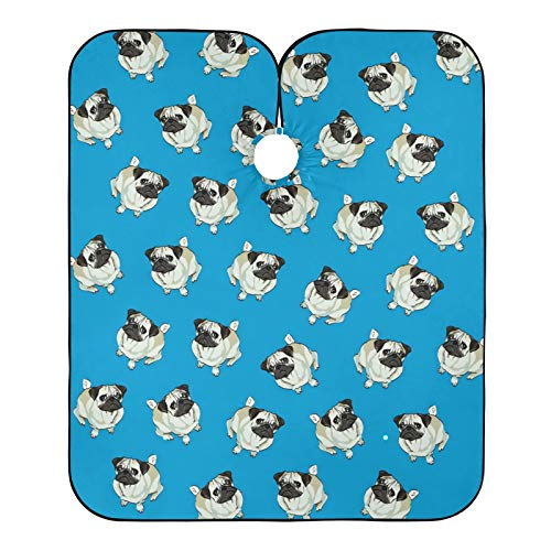 Cabo de peluquero con diseño de perro de perro con estampado azul para cortar el pelo, babero para el salón de casa y barbería