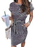 MEROKEETY Women's Summer Striped Short Sleeve T Shirt Dress Casual Tie Waist with Pockets, Black, L
