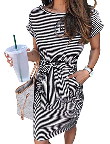 MEROKEETY Women's Summer Striped Short Sleeve T Shirt Dress Casual Tie Waist with Pockets, Black, S