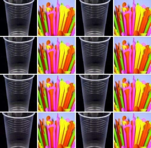 Slush Eisbecher+Trinkhalme Löffel Plastikbecher Ausschankbecher Trinkbecher 0,2l Transparent Becher (500)
