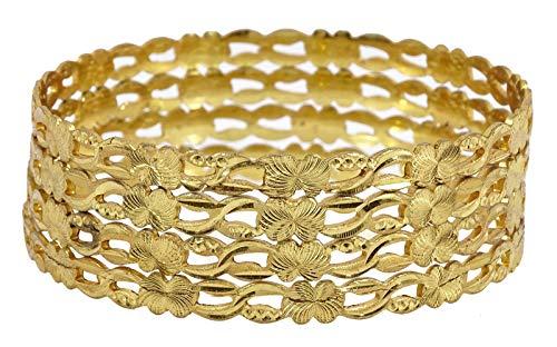 Banithani Indiano Tradizionale Placcato Oro 4 Pezzi Braccialetto Donna Gioielli 2.10 e Lega, Colore: Color Oro, cod. BSG1343E