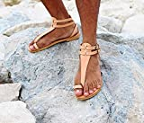 M.V. - gladiator thong sandals/men leather shoes/roman greek style/t-strap ankle strap sandals with toe ring/large sizes