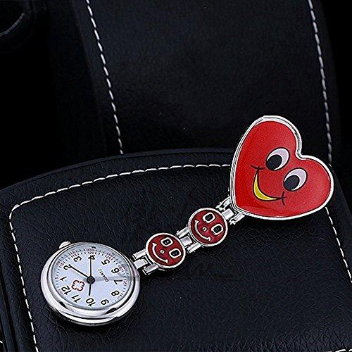 Genérico fabuloso de moda duradera rojo corazón sonriente cara forma de cuarzo movimiento enfermera médico paramédico profesionales médicos túnica broche FOB reloj de bolsillo médico de alta