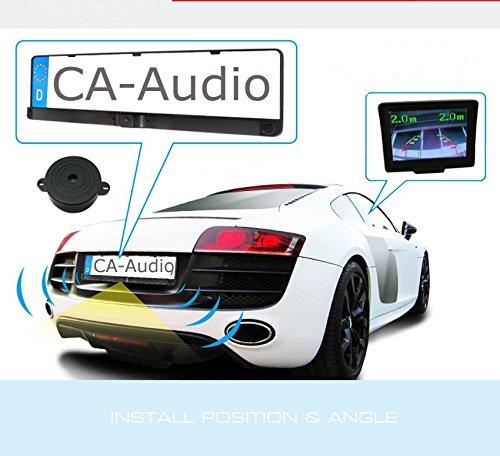 YMPA Einparkhilfe Funk Kabellos mit Monitor Rückfahrsystem universal integriert Nummernschild Kennzeichen Halterung hinten Sensoren PDC nachrüsten und einbauen für Garage Auto PKW KFZ EH-NSKFS