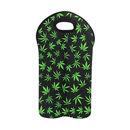 Wine Bags with Handles Floral Cannabis Leaves Vector Wine Bags for Travel Double Bottle Carrier Wine Bags for Travel Thick Neoprene Wine Bottle Holder Keeps Bottles Protected