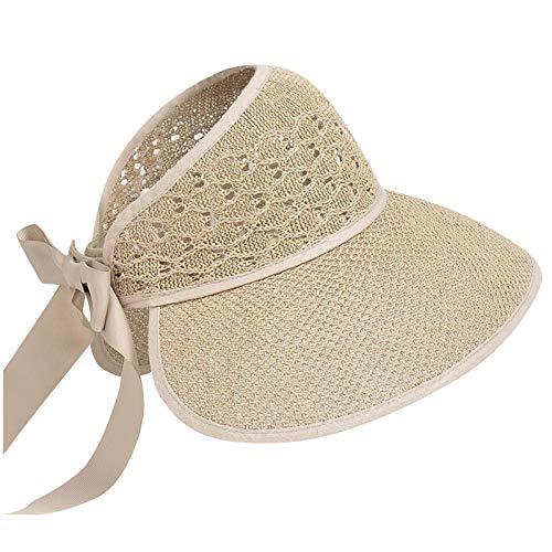 Sun Visors for Women Summer Beach Hats UPF 50+Wide Brim Roll-up Foldable Straw hat Visors Summer Hats Wide Brim Cap
