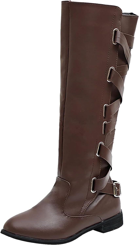 DKBL Womens Mid Calf Boots Belt Buckle Bootsa High Boots Long Shaft Boots Cowboy Boots Western Chelsea Boots Flat Snow Boots High Boots Waterproof Martin Boots Autumn Winter Boots Red